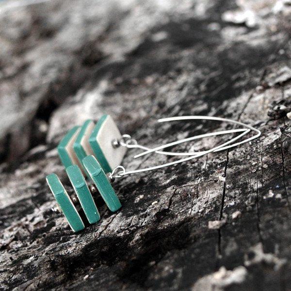 Ceramic earrings - cube shape, design jewelry by Brekszer on Etsy