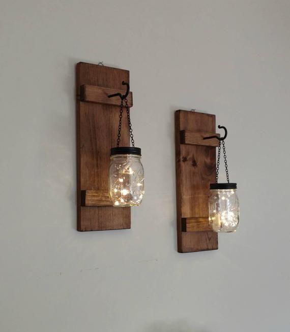 2 Mason Jar Sconces Rustic Hanging LED Fairy Lights Farmhouse Home Wall Decor