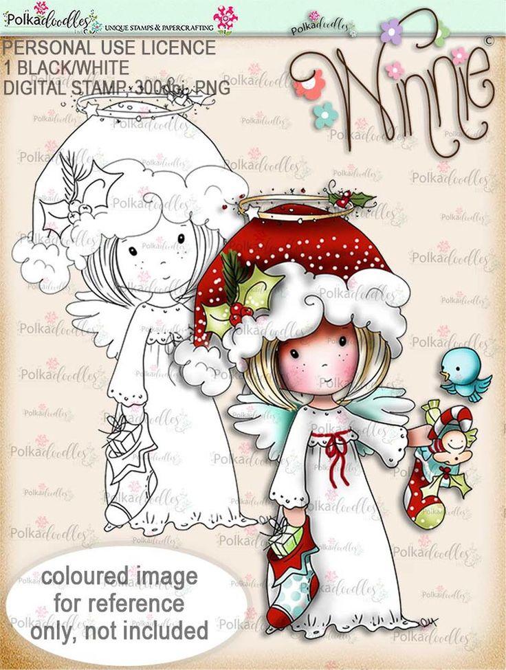 Stockings up Winnie Angel digital stamp download in 2020
