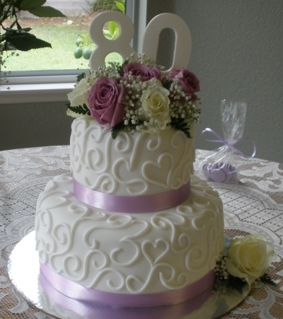 80th Birthday cake By crystal930 on CakeCentral.com