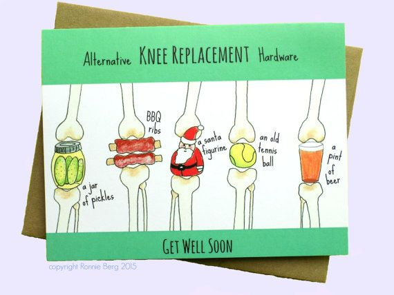 Knee Replacement, Funny Get Well Card, Knee Surgery Card, Funny Knee Card, Get…