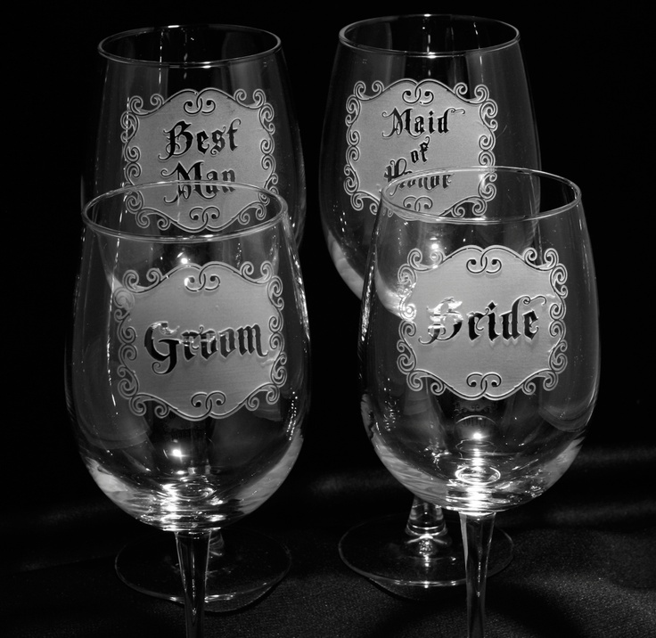 Great Four Wine Glasses Engraved With Bride, Groom, Best Man And Maid Of Honor. Engraved  Barware At Crystal Imagery.