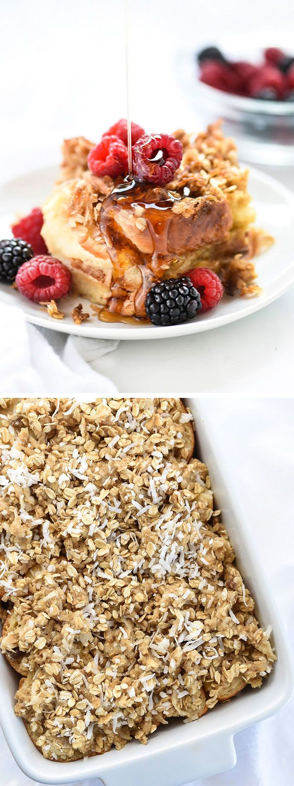 Coconut Baked French Toast With Oatmeal Crumble is made with sweet challah bread and Coconut Almond Breeze for loads of coconut flavor | foodiecrush.com