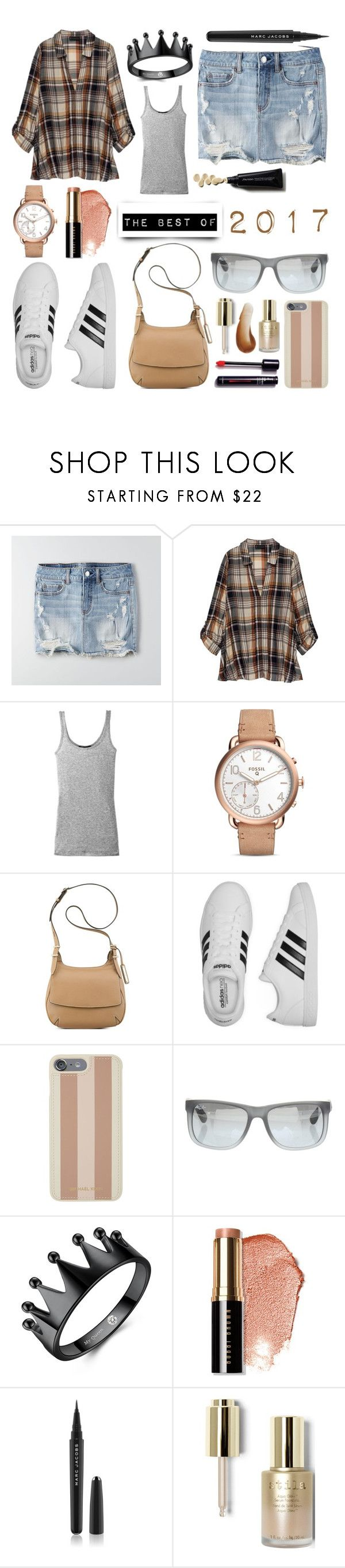 """at the concert"" by beiacas ❤ liked on Polyvore featuring American Eagle Outfitters, Bobeau, Vince, FOSSIL, Nine West, adidas, Michael Kors, Ray-Ban, Bobbi Brown Cosmetics and Marc Jacobs"