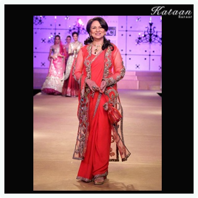 #Sharmila Tagore walking down the ramp in a RED saree