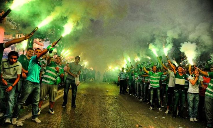 Fans of the Turkish football club Bursaspor.