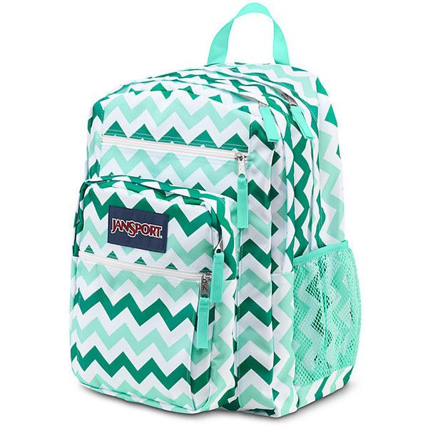 JanSport Big Student Aqua Dash Zou Bisou ($46) ❤ liked on Polyvore featuring bags, backpacks, jansport bags, aqua backpack, pocket backpack, jansport rucksack and jansport backpack