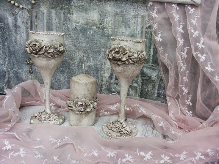 Martinel: Wedding set- toast wine glasses and a candle - Сватбен комплект чаши вино и свещ