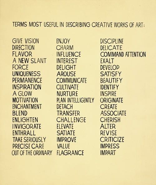'Terms Most Useful In Describing Creative Works Of Art' by John Baldessari (1966)