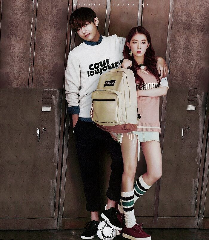 Campus Royalties • Vrene p/s this is too hard for me ;-; (i nearly changed everything in taehyung's picture) p/s HOPE YOU LIKE THIS!!! ❤❤ #vrene #v #irene #taehyung #joohyun #baeirene #kimtaehyung #bts #redvelvet #btsvelvet #bangtanvelvet #edit #campusroyalties #taerene