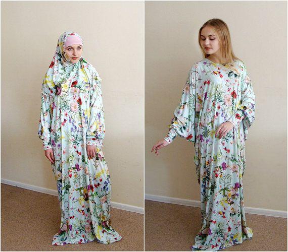 Floral Maxi jurk Plus Size gebed kleden Farasha Caftan Boho