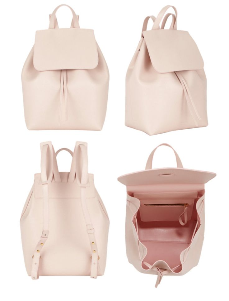 "Mansur-Gavriel-BACKPACK CALF COATED 12"" H X 14"" W X 7"" D Italian calf leather light pink backpack with light pink interior matte patent. Interior zip pocket and adjustable straps. Made in Italy."