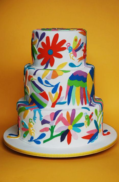 Mexican inspired cake...just like the fabric. Very cool. Fiesta cinqo de mayo