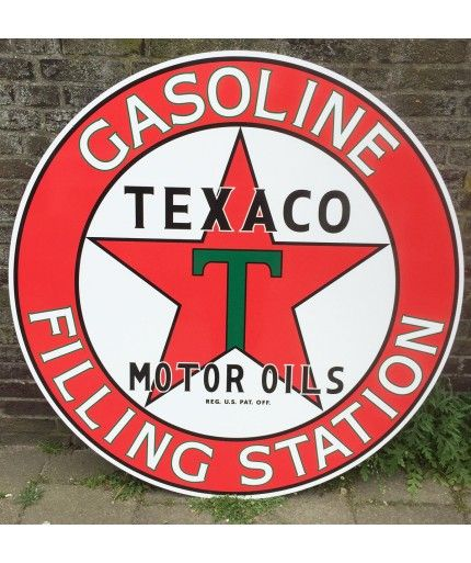 Huge 2-sided Texaco Gasoline Filling Station 2-sided Metal Sign http://www.fiftiesstore.com
