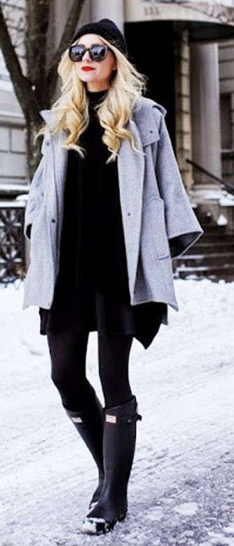 Break up an all black look with a light grey coat & a pop red lip.
