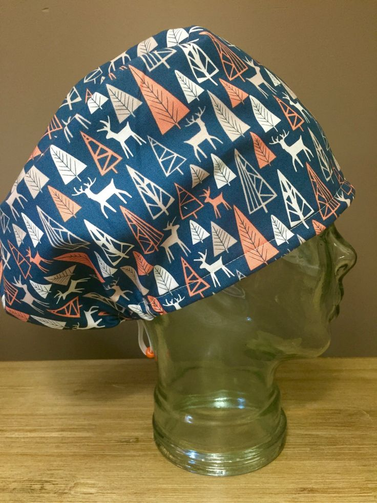 Deer & Pine Trees on Navy Surgical Scrub Hat, Women's Forest European Style Scrub Cap, Modified Boufant, Custom Caps Company by CustomCapsCompany on Etsy