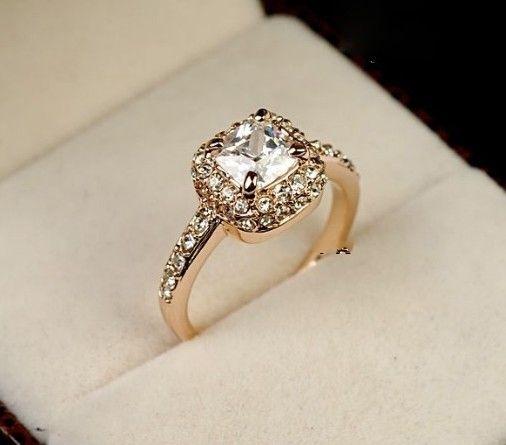 popular rose gold gp swarovski crystal unique beautiful ring size available - Swarovski Wedding Rings