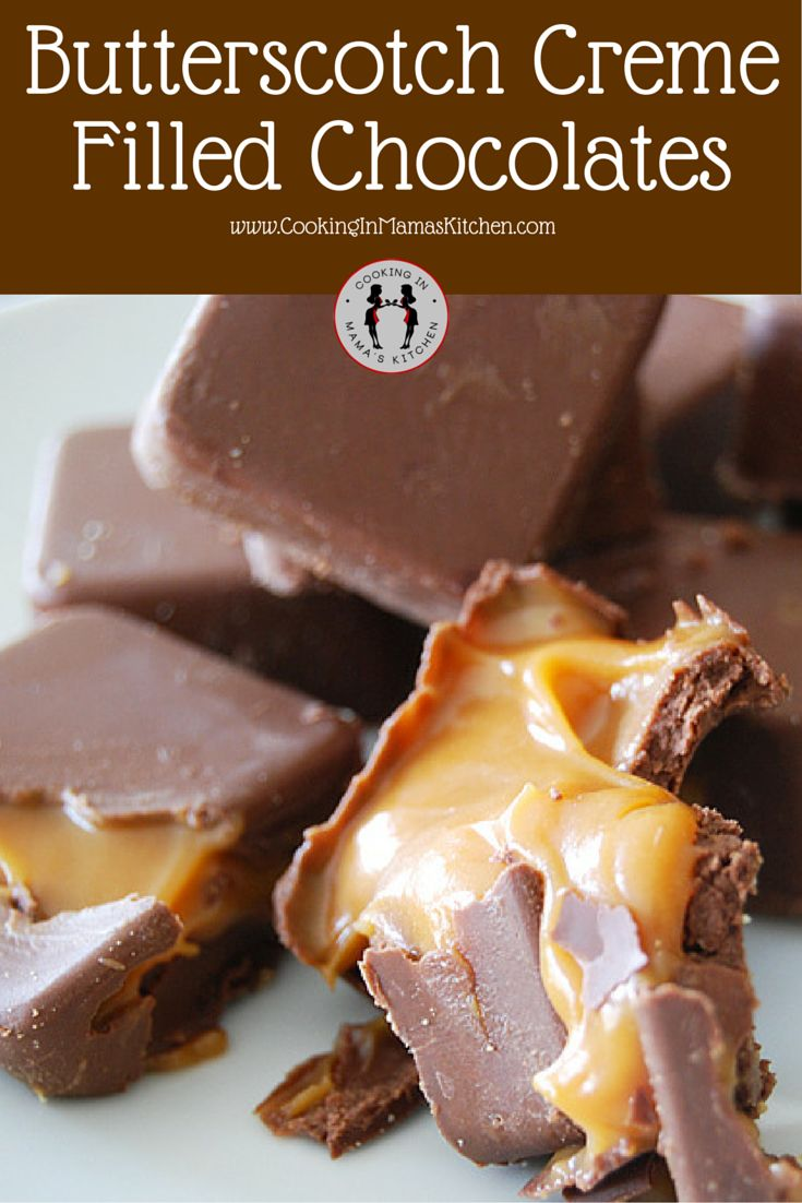 OMG These Butterscotch Creme Filled Chocolates Are Such an Easy Dessert To Make and Absolutely Delicious! RECIPE Here: http://www.cookinginmamaskitchen.com/butterscotch-creme-filled-chocolate-candy/