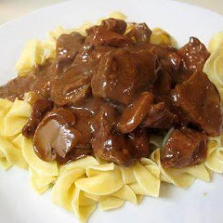 Baked Beef Tips and Noodles