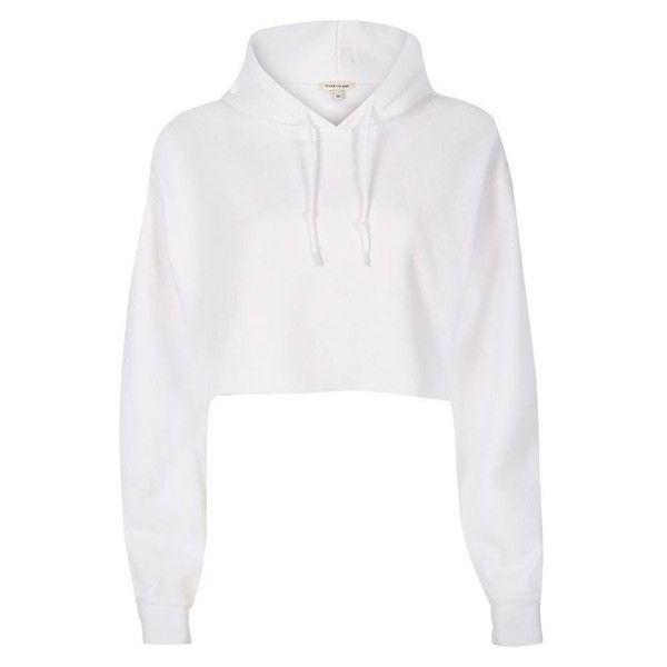 River Island White cropped hoodie ❤ liked on Polyvore featuring tops, hoodies, sweatshirt hoodies, long sleeve crop top, hooded sweatshirt, tall hoodies and tall hoodie