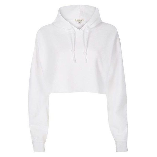 River Island White cropped hoodie ❤ liked on Polyvore featuring tops, hoodies, crop top, cropped hoodies, white hoodies, tall hoodies and white hooded sweatshirt