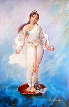 Ganga - Goddess of the Ganges - first daughter of Mount Himavan - she came back to earth as a result of the austerities of Sage Bhagiratha. As she descended from the heavens she was caught by the matted locks of Lord Shiva's hair to prevent the force of her fall from destroying the earth.