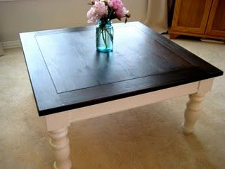 Coffee Table Makeover.  Love the dark top and creamy legs!