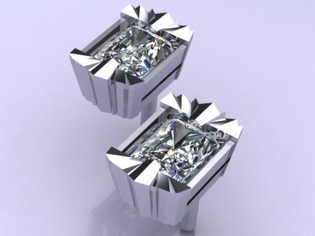 Cool Art Deco inspired platinum earrings, set with radiant cut diamonds. Dazzling! #ArtofGems