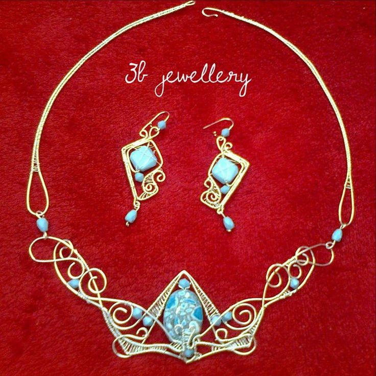 #turquoise and #gold #luxury #set of #earrings and #necklace inspired by deviantart artist Mea #3bjewellery #wirewrapping #beginner