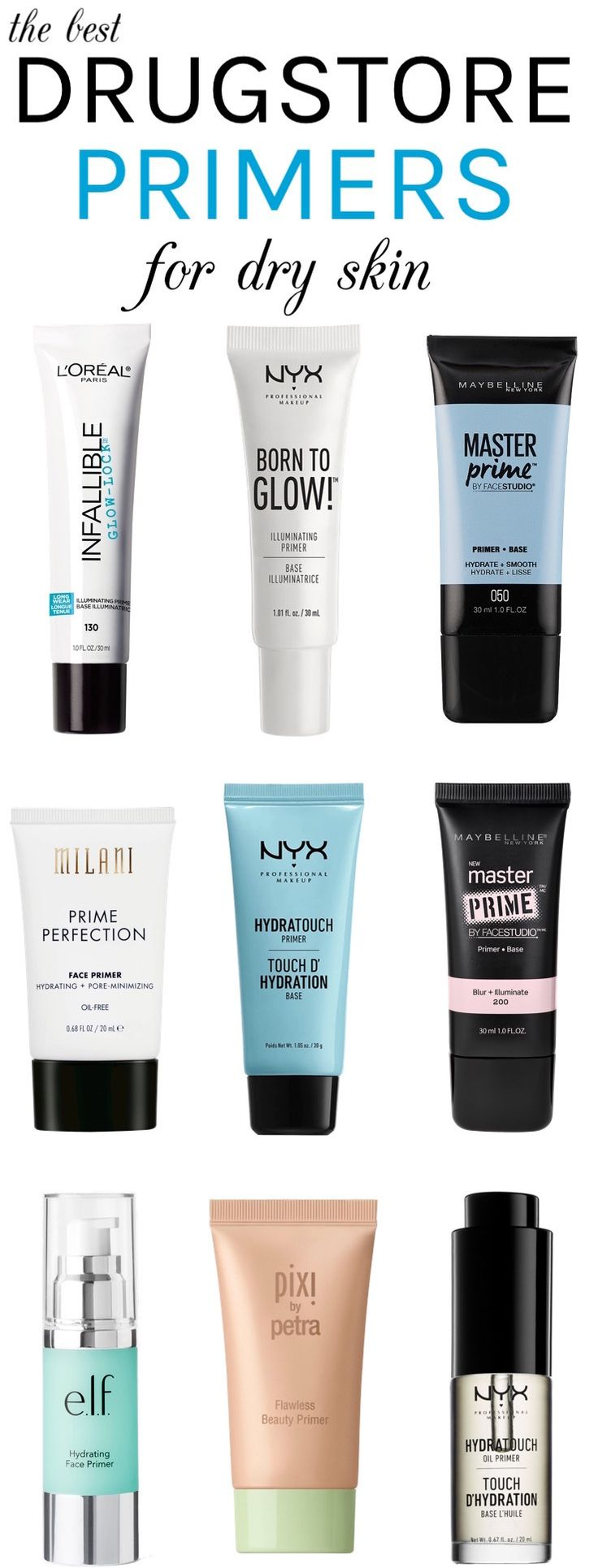 Whether you are struggling with winter dryness or a persistently dry, dull complexion, here are the best drugstore primers for dry skin you need to ace your base! These foundation primers prep your skin perfectly for makeup while packing a good hydration punch! No more flaky foundation!
