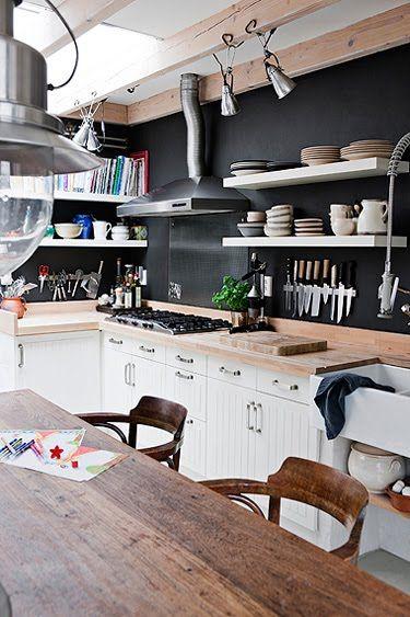 White Open Shelving On Dark Wall W White Lower Kitchen