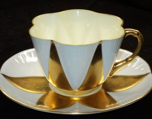 Shelley Dainty MAUVE BLUE GOLD Tea cup and saucer