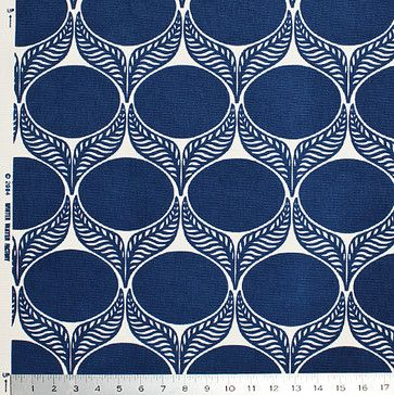 June Leaf Fabric, Navy contemporary upholstery fabric