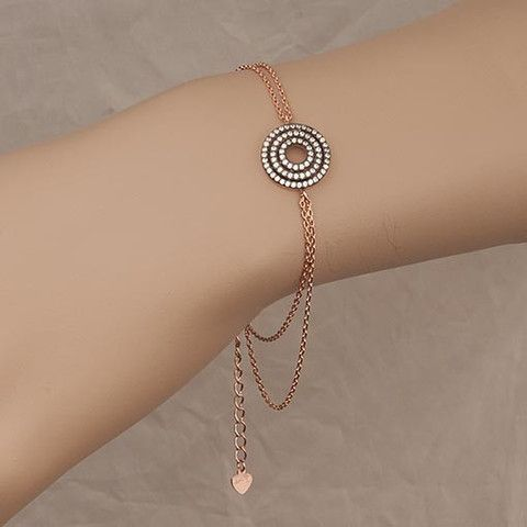 Rose Gold Plated Bracelet With Clear Cubic Zirconia Target  At Anthoshop.com