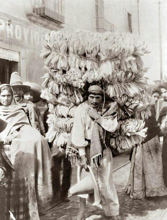 Vendedor de hojas para tamal. México.
