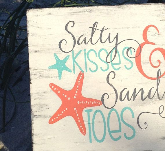 Beach wedding sign-Salty kisses Sandy toes by GuessWhoooDesigns