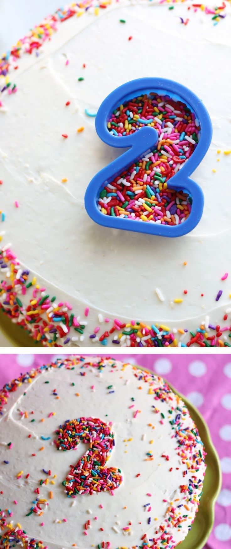 Use a cookie cutter & sprinklers to decorate a cake :) Cute!!!