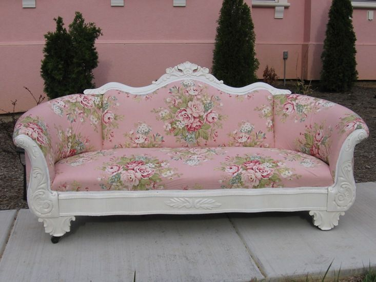 Love This Rose Bouquet Fabric On Antique CouchSo Pretty For A Sunroom