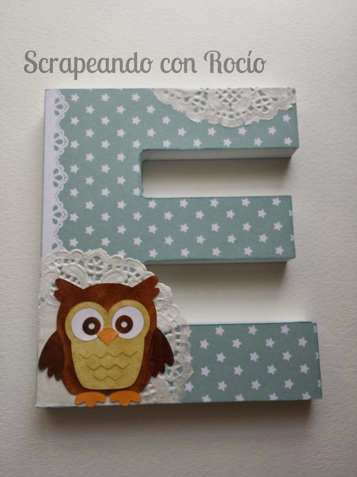 Letra decorada para bebé. Decorated 3D letter for a baby boy.
