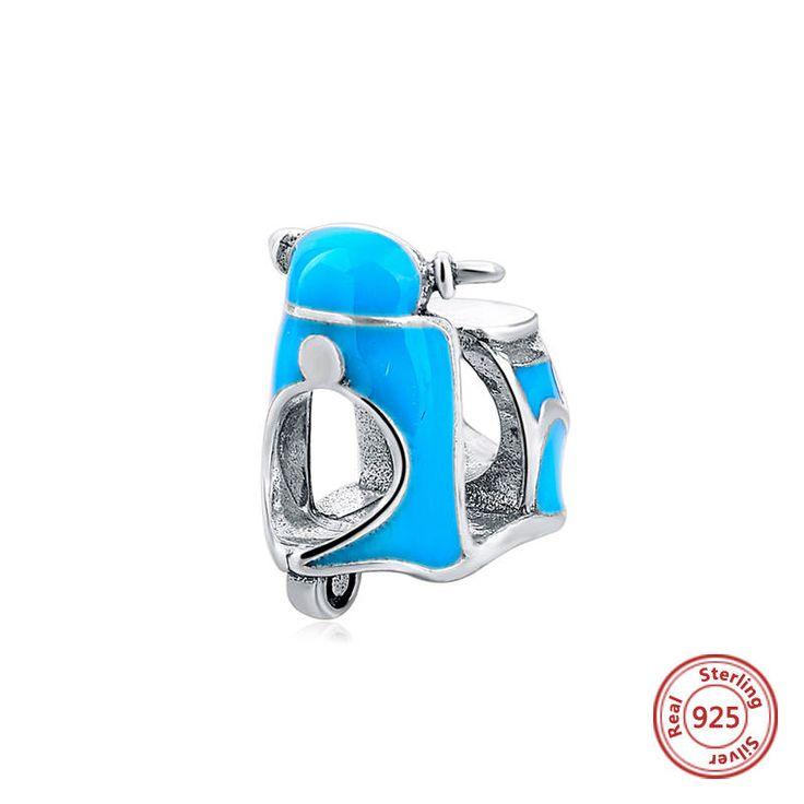 Vespa lambretta vintage moto con smalto blu 100%argento sterling 925 adatta misure Pandora charm Pandora bead Braccialetto europeo SG07408 di OceanBijoux su Etsy