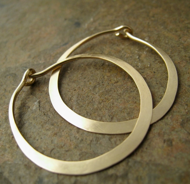 "Hammered wide 1"" Solid 14k Gold Hoop Earrings. Minimalist Modern Gold Jewelry, Simple Gold Hoops.. $285.00, via Etsy."