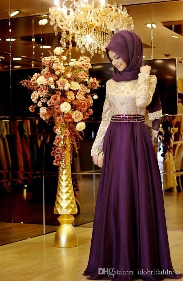 Elegant Muslim Long Sleeves Women Evening Formal Dresses 2016 Crew Neck A Line Bow Satin Grape Hunt Green Prom Party Gowns With The Veil