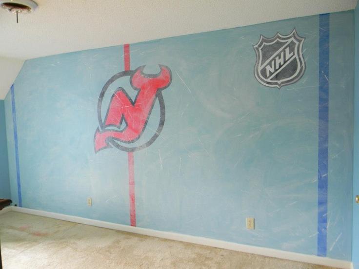 Hockey room mural