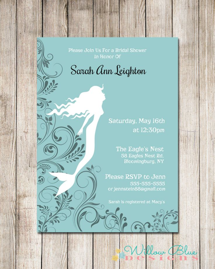 Mermaid Bridal Shower Invitation, Teal and Black, 5x7 or 4x6 Printable, Printable Bridal Shower Invitation by WillowBlueDesigns on Etsy https://www.etsy.com/listing/217199615/mermaid-bridal-shower-invitation-teal