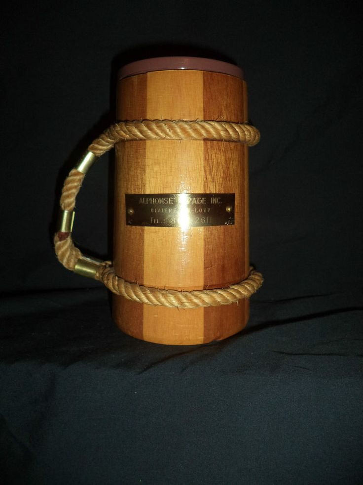 Wood Mug Rope & Copper Handle Plastic Cup