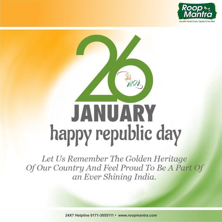 Roop Mantra Wishes You A Very Happy Republic Day. #26january #JaiHind #Vandematram #RoopMantra www.roopmantra.com | 24X7 Helpline: 0171-3055111
