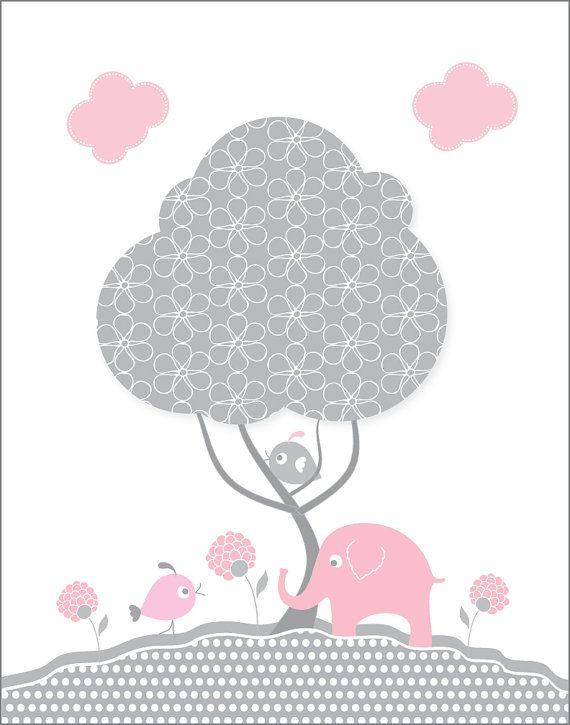 Kids wall art, 11X14 Gray and pink elephant nursery prints for baby girls, nursery wall art, April print of the month, bird, tree wall decor. $13.00, via Etsy.