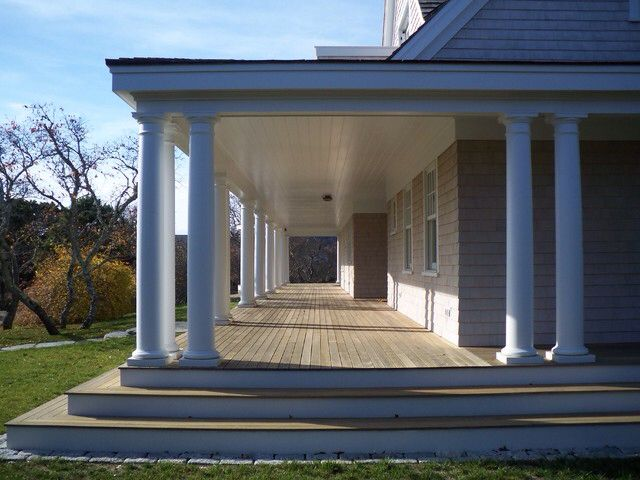 25 best ideas about farmers porch on pinterest patio for Wrap around porch columns