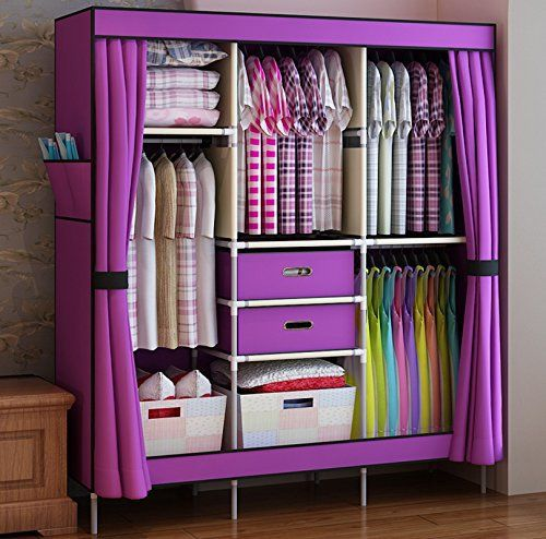 Package includes: 1X Super Large Reinforced Portable Clothes Closet Wardrobe + 2 Free Storage Boxes We will send you 2 storage boxes for free, but the color is at random. Thanks Weight: about 4.3 kg Size: 106cm(length)*43cm(width)*167cm(height) /... more details available at https://furniture.bestselleroutlets.com/bedroom-furniture/bedroom-armoires/product-review-for-hhaini-double-sturdy-portable-wardrobe-fully-enclosed-large-clothes-closet-freestanding-bedroom-armoire-family