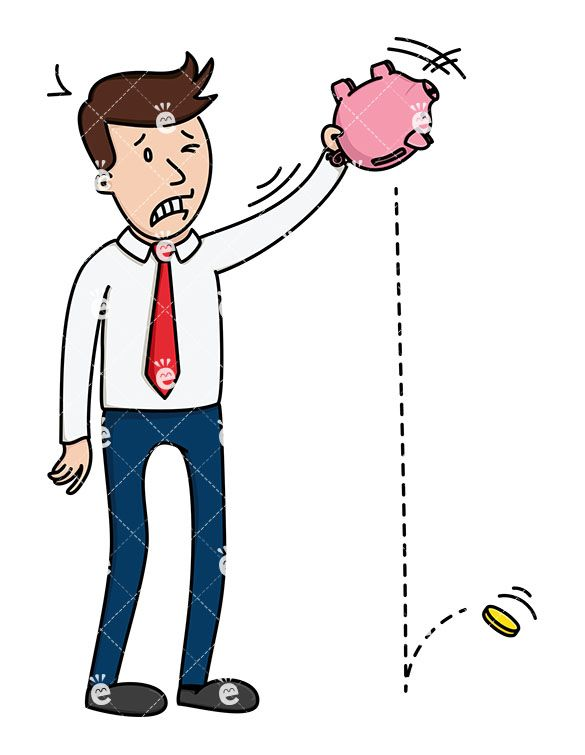 A Businessman Trying To Shake Money From A Piggy Bank:  Royalty-free vector illustration of a businessman holding a piggy bank above his head, trying to shake coins out of it. He looks mad as only one coin drops to the ground. #businessman #friendlystock #graphic #vector #art #illustration #animation #whiteboard #svg